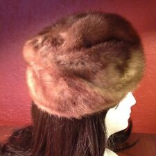 Vintage Deborah Exclusive Pillbox Mink Hat Fully Lined M-L Size
