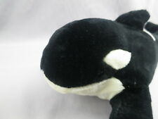 Big Lifelike Black White Gray Shamu Seaworld Killer Whale Orca Plush Stuffed