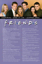 Friends Show Quotes Poster LICENSED NEVER HUNG Classic Friends shot  NEW