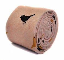 Frederick Thomas pink tie with bird design 100% cotton linen FT2179 RRP £19.99