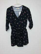 Hollister Playsuit Flower Print Romper - Womens Small - Navy - NWT