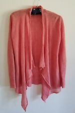 Eileen Fisher Open Linen Knit Long Sleeve Drape Front Coral Pink Cardigan Sz PS