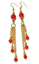 New listing GOLD RED TASSLE EARRINGS statement drop dangle unique vintage gypsy prom style