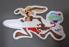 "WILE E. COYOTE w/Acme Outboard Surfboard Embroidered Iron-On Patch - 4"" -"