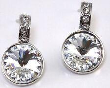 Clear Crystal Swarovski Elements Rhodium Post Earrings Rhodium Women
