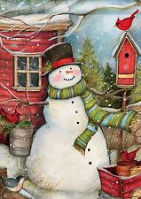 Red Barn Snowman Winter Garden Flag Bird Seasonal Yard Banner 12.5 x 18
