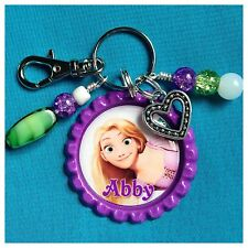 Personalized TANGLED RAPUNZEL Bottle Cap Name Necklace, Jewelry Zipper Pull