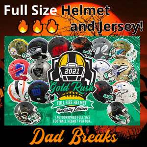 MIAMI DOLPHINS signed Gold Rush Specialty FULL-SIZE HELMET + Jersey BOX BREAK