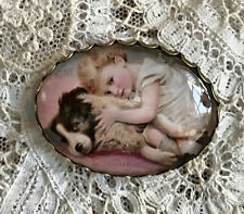 AUSTRALIAN SHEPHERD AND CHILD Glass Oval Dome BUTTON Filigree XL Vintage Dog Art