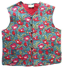 Anokhi Koki 100% cotton quilted vest - poppy swirls - 6-7yrs