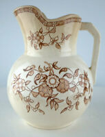 """ANTIQUE 1880s Aesthetic PITCHER Brown Transferware 7.5"""" tall"""