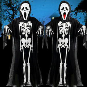 Adult Kids Halloween Skeleton Ghost Hooded Cosplay Costume Mask Prop Outfit Set