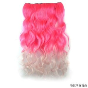 """20"""" Ombre Long Curly Wave Hairpiece Weft Synthetic Clip In Hair Extensions Weave"""