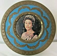 Vintage Tin (Empty) Royal Queen Elizabeth 1977 Silver Jubilee Royalty Blue Round