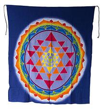 Batik Chakra Bouddha Tara Yantra tenture murale Yoga decor noir 105x94cm 1036 U