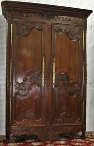 Antique Normandy Carved French Oak Marriage Armoire Wardrobe Circa 1780