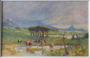 Allerley Glossop - Table Mountain Impressionist South African Landscape Painting