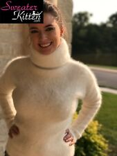 "44"" L Fuzzy & Fluffy Angora Sweater With Tight & High 100cm Turtleneck SALE"