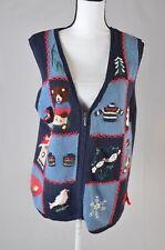 Capacity Womens Ugly Tacky Christmas Zip Up Sweater Vest   Size Medium (k)