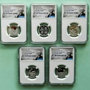2019-S  Silver 25C Set, NGC PF 70 Ultra Cameo, 5-coin set, Portrait Label