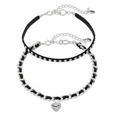 JUICY COUTURE silver tone Heart Studded Black Faux Suede Choker Necklace Set NEW