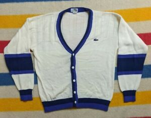 VTG 90s IZOD Lacoste USA Multi Colorblock Button Cardigan Sweater XL (20)