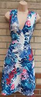MARINA KANEVA WHITE BLUE PINK FLORAL V NECK SLEEVELESS A LINE MIDI TEA DRESS 12