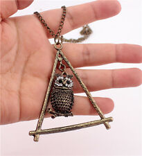 Retro Bronze Plated Triangle Rack Dangle Cute Crystal Owl Pendant Chain Necklace