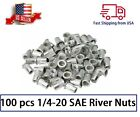 100 qt 1/4-20 Aluminum Flange Nutserts Rivet Nut Rivnut Nutsert