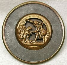 Antique Button Lg Sz Man Training his Dog Brass Cut Out Wide Rim  1 & 5/8""