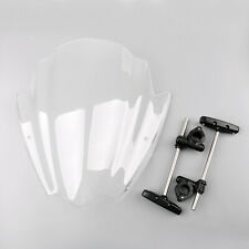 """ABS Plastic Universal Motorcycle Windshield 7/8"""" & 1"""" Handlebar Mount Clear"""