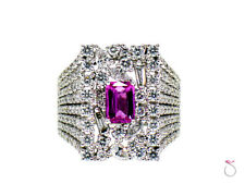 Pink Sapphire & Diamond Cocktail Ring, D 4.75 ct. S 1.00 ct. 18K White Gold