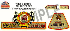 Gilmore Fram Oil Filter Decal Water Slide hot rod Flathead Ford V8 Deuce 1932