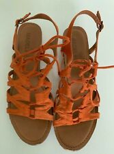 MADELINE SUAVE size 9 Orange Sandals Strappy Gladiator Open Toe Tie Laces