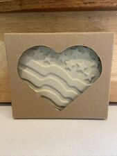 The Pampered Chef Stoneware Patriotic 4th of July Heart Kit Cookie Mold in Box