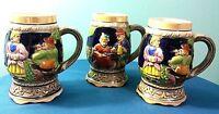 Beer Steins Vintage Hand Painted Ceramic Made In Japan (Set of 3)