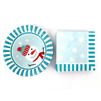 "9"" Christmas Snowman Paper Plates and Napkins Set Dinnerware Party Serves 18"