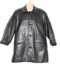 Black Thick 100% Real Leather RIVER LONDON Hip Length Men's Coat Size L XL Biker