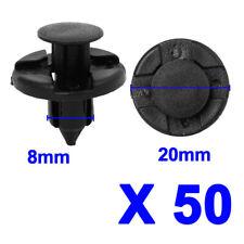 50Pcs/set Car Plastic Rivets 8MM Holes Dia Fastener Fender Bumper Push Pin Clips