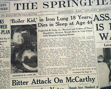 FREDERICK SNITE The Man in the Iron Lung Notre Dame Legend DEATH 1954 Newspaper