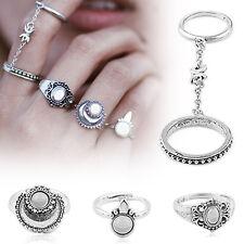 5pcs/set Boho Women Silver Stack Plain Above Knuckle Ring Midi Finger Tip Rings