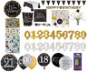 Birthday Party Black Gold Tableware Decorations Supplies Plates Cups Balloons