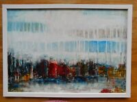 Original oil and mixed media framed painting by Nalan Laluk: City Skyline