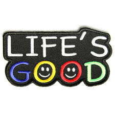 Embroidered Life's Good Smiley Sew or Iron on Patch Biker Patch