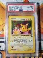 Pokémon Birthday Pikachu #24 Black Star Promo PSA 8 NM - Mint Holo WOTC 2001