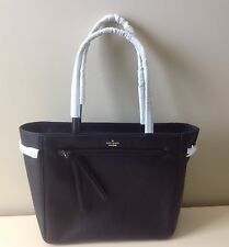 New Authentic KATE SPADE PEBBLED LEATHER LARGE BLACK TOTE  BAG PURSE