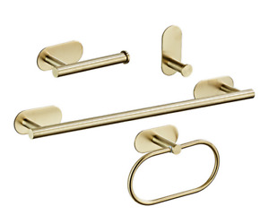 3M Self Adhesive Brushed Gold Towel Bar Ring SUS304 Bathroom Accessories Hooks