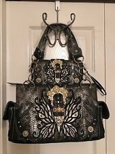 Cowgirl Trendy WESTERN BUCKLE BUTTERFLY Concealed Carry Handbag w/Wallet - BLACK
