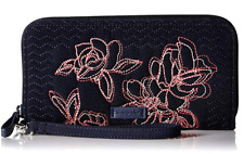 Vera Bradley Iconic RFID Accordion Wristlet Wallet w/Strap - Classic NAVY - $88