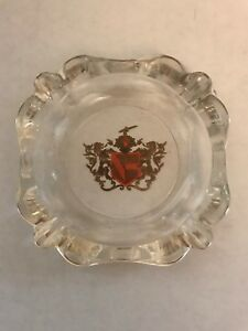 Asian Inspired Clear Glass Gold Trim Ashtray w/Two Dragons Coat of Arms - Red